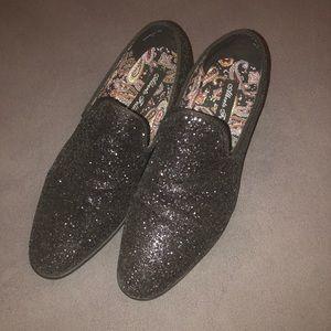 Men's black glitter loafers